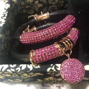 A set of two leather and crystal pave bracelets